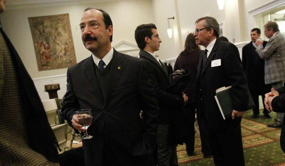 Mexican congressman Javier Trevino Cantu is in Texas trying to sell his country's energy reforms to U.S. oil companies. He recently visited with attendees before speaking to a group at Southern Methodist University. Photo: Mona Reeder / McClatchy-Tribune News Service / Dallas Morning News