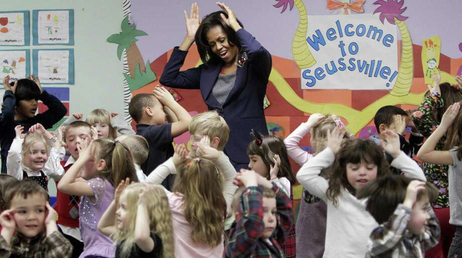 "First lady Michelle Obama established  her Let's Move initiative to combat childhood obesity. A new medical study finds that much of a child's ""weight fate"" is set by age 5. Photo: Associated Press / AP"