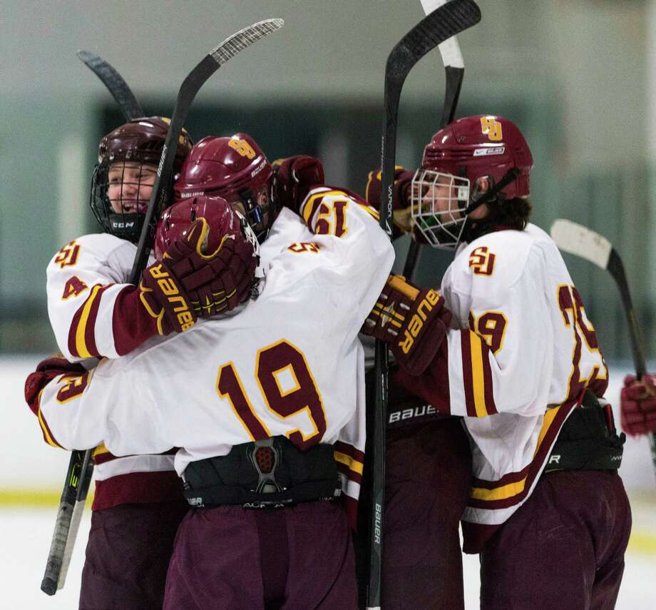 St. Joseph high school players celebrate a goal scored by Dom DeRosa in the second period of a boys ice hockey game against Trumbull high school played at the Sports Center of Connecticut, Shelton, CT on Wednesday, January, 29th, 2014. Photo: Mark Conrad / Connecticut Post Freelance