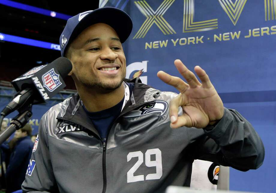 Seattle Seahawks' Earl Thomas speaks during media day for the NFL Super Bowl XLVIII football game Tuesday, Jan. 28, 2014, in Newark, N.J. (AP Photo/Mark Humphrey) Photo: Mark Humphrey, STF / AP