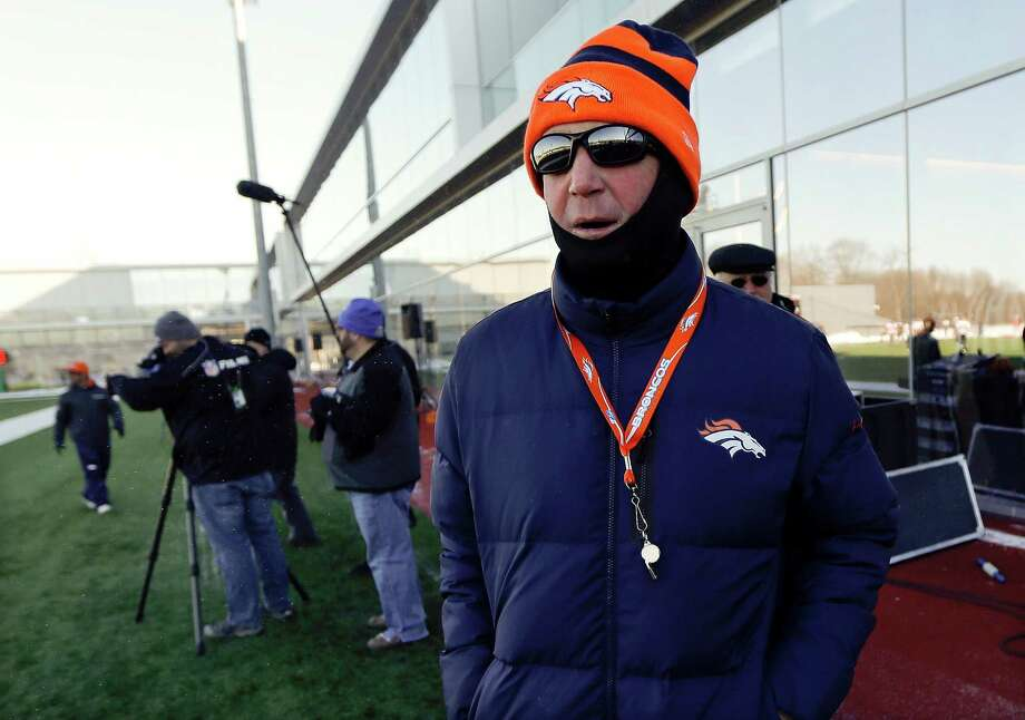 Denver Broncos head coach John Fox is bundled against the cold as he supervises a practice Wednesday, Jan. 29, 2014, in Florham Park, N.J. The Broncos are scheduled to play the Seattle Seahawks in the NFL Super Bowl XLVIII football game Sunday, Feb. 2, in East Rutherford, N.J. (AP Photo/Mark Humphrey) ORG XMIT: NJMH138 Photo: Mark Humphrey / AP