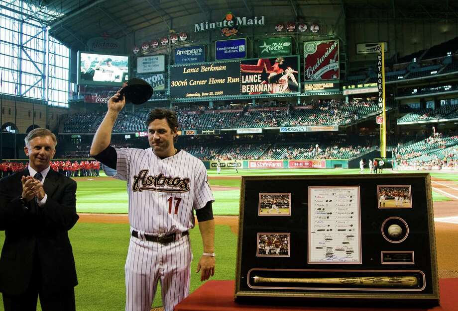 Lance Berkman acknowledges the crowd at Minute Maid Park in 2009 while being recognized for hitting his 300th career home run in a game at Arizona. Photo: Smiley N. Pool, Staff / Houston Chronicle