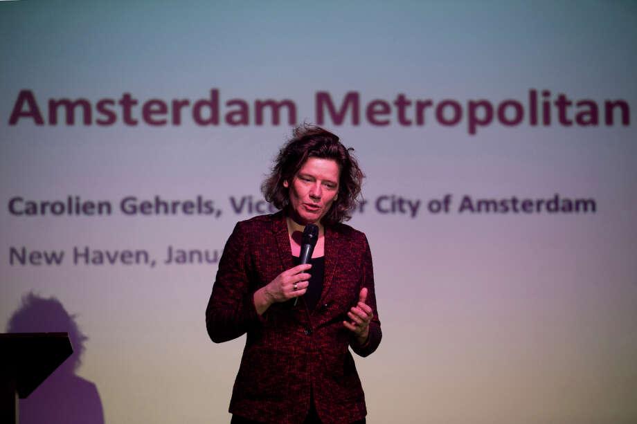 Carolien Gehrels, Deputy Mayor of Amsterdam, speaks during a presentation at the Bijou Theater in Bridgeport, Conn. Jan. 29, 2014. Photo: Ned Gerard / Connecticut Post