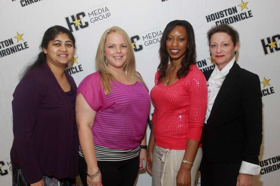 (For the Chronicle/Gary Fountain, May 9, 2013) Sherin Cherian, from left, Kelly Byler,vMarisa James and Darlene Guillory. Photo: For The Chronicle