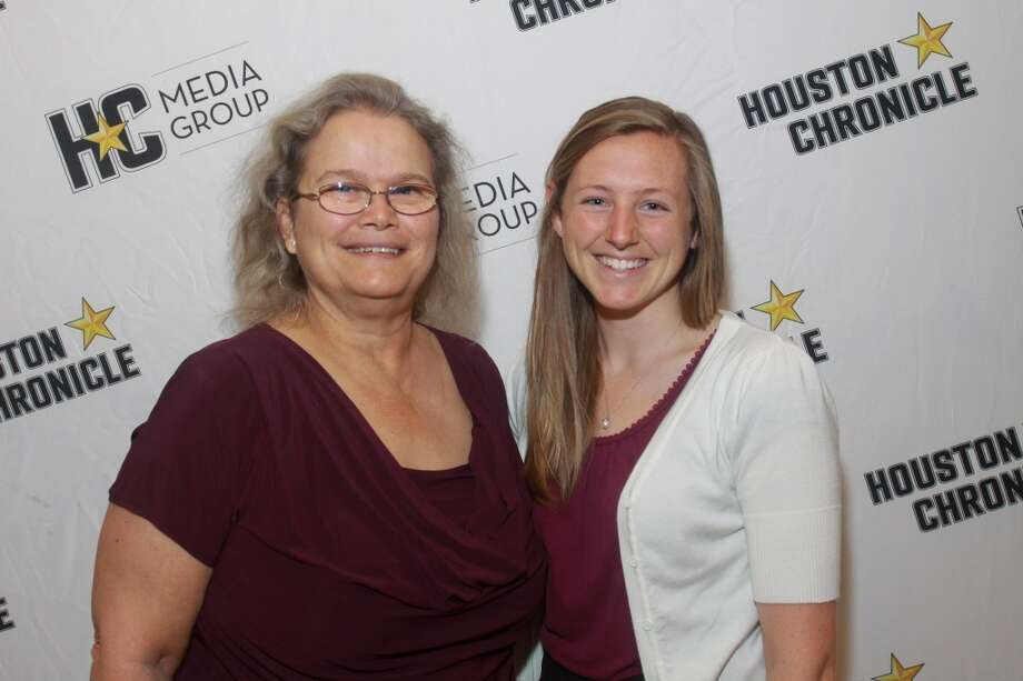 (For the Chronicle/Gary Fountain, May 9, 2013) Rita Dellostritto, left, and scholarship winner Ashley Hoyt. Photo: For The Chronicle