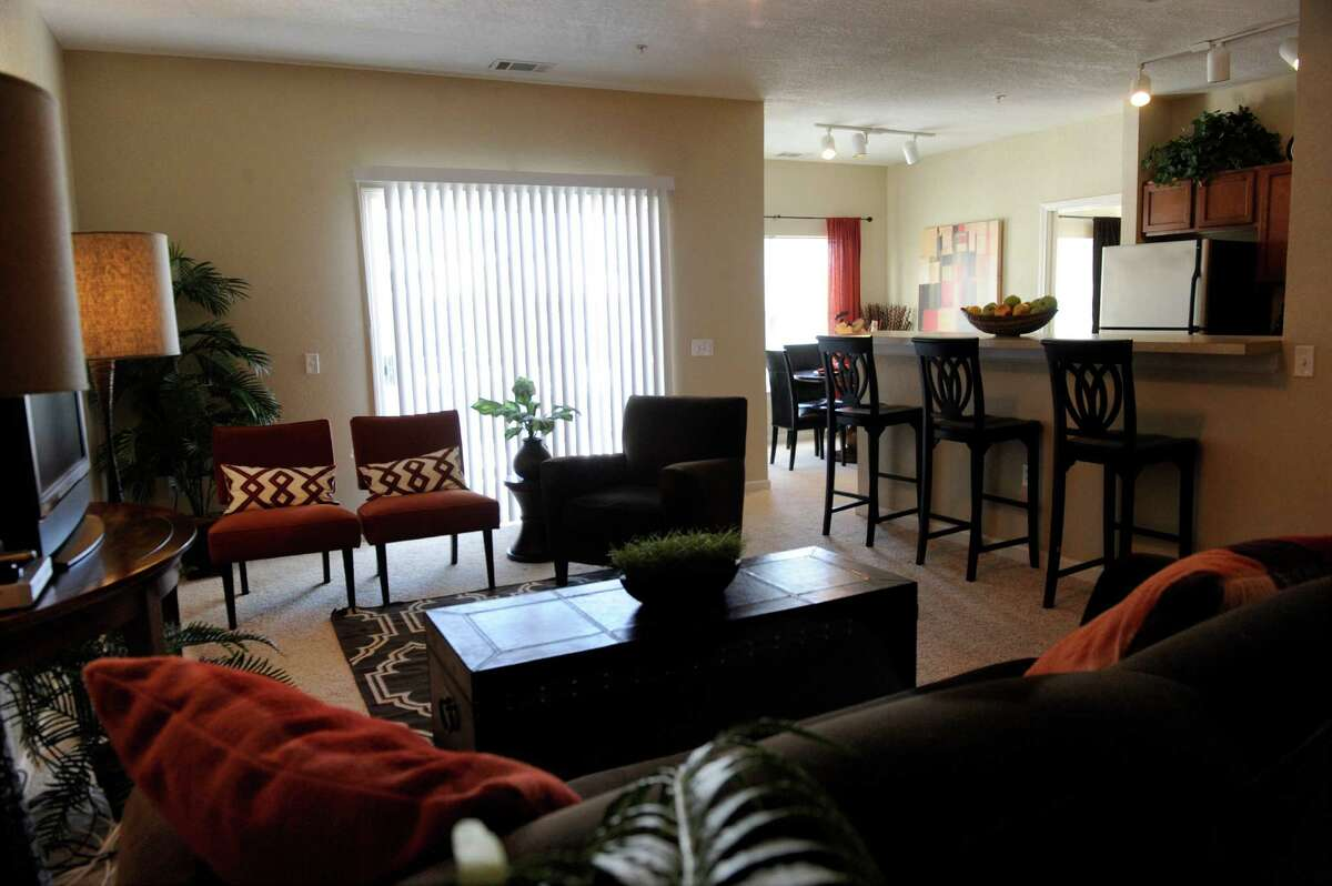 This is a two-bedroom apartment at Crown Pointe at the Reserve, a large rental complex in Danbury, Conn. situated in a nature preserve.