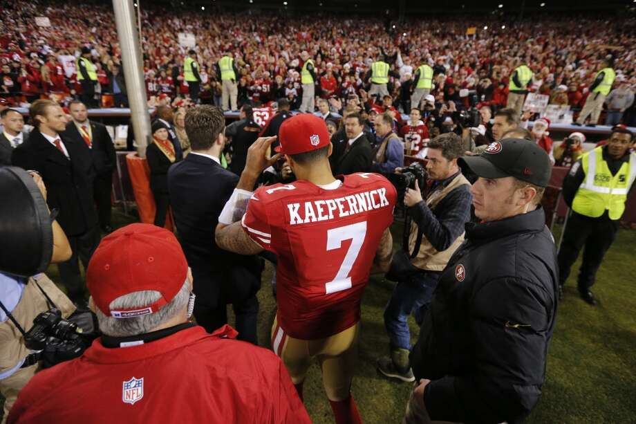 San Francisco 49ers quarterback Colin Kaepernick (7) walks off the field after the 49ers defeated the Atlanta Falcons at Candlestick Park on Monday December 23, 2013 in San Francisco, Calif.  It is the last home game the 49ers will have at Candlestick Park before the stadium is demolished. Photo: Michael Macor, The Chronicle