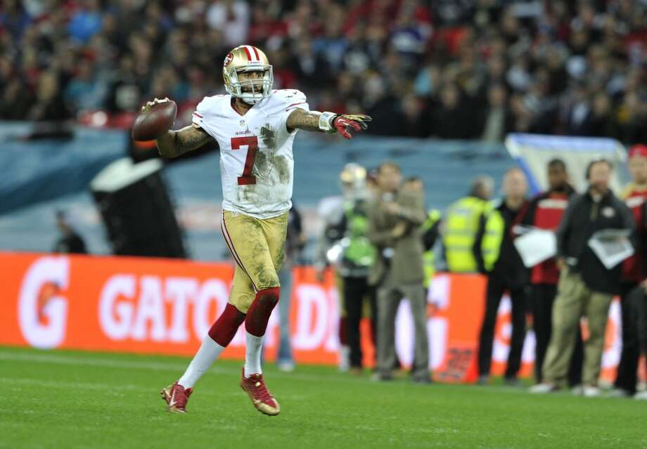 49ers qb Colin Kaepernick The San Francisco 49ers play the Jacksonville Jaguars in game two, of the NFL International Series at Wembley Stadium in London on Sunday, October 27.  27/10/13, photo: Sean Ryan /NFL Photo: Sean Ryan, Sean Ryan NFL