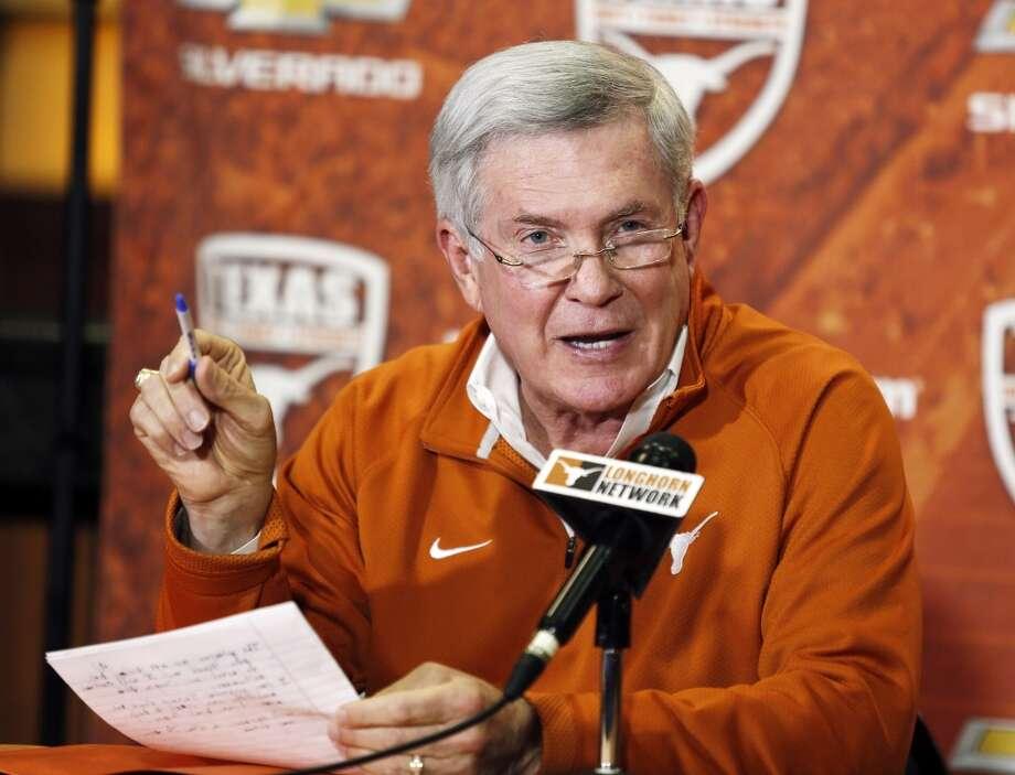 Mack Brown announces his resignation as Texas head football coach on Dec. 15, 2013. Photo: Jack Plunkett, Associated