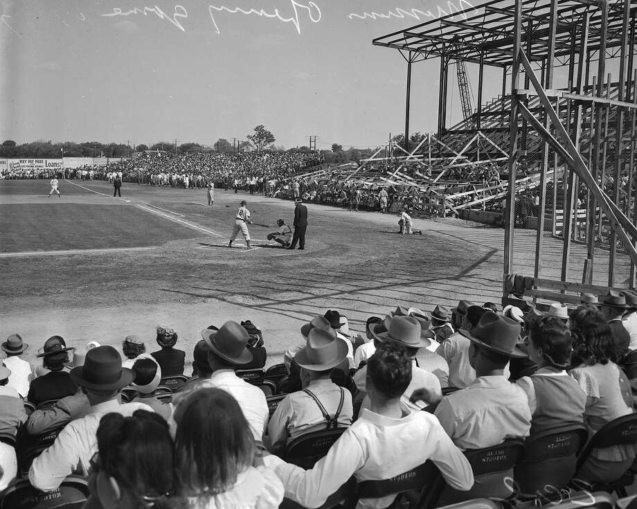 The opening game at the still unfinished Mission Stadium, April 18, 1947. Courtesy UTSA Libraries Special Collections Photo: UTSA Special Collections / UTSA Special Collections