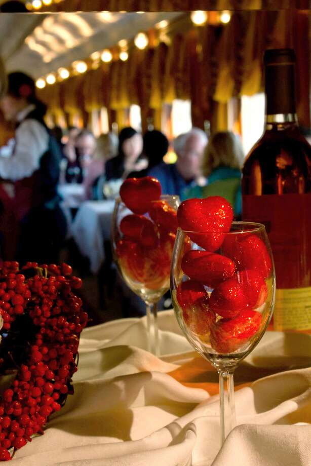 The Napa Valley Wine Train offers special Valentine's Day Weekend runs in either the intimate, glass-enclosed Vista Dome or luxury Gourmet Express car. Photo: Napa Valley Wine Train