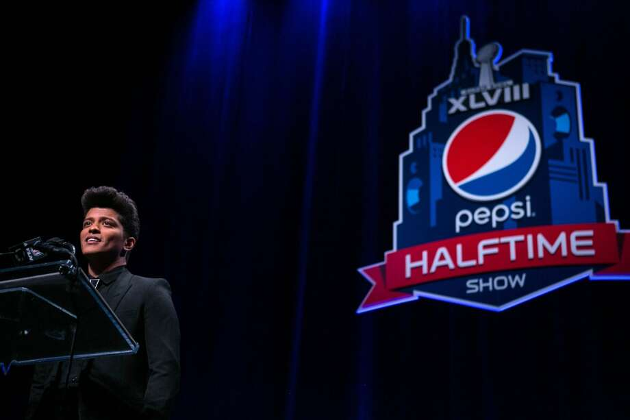 Super Bowl halftime performer Bruno Mars speaks to the media during a press conference on Thursday, January, 30, 2014 at the Rose Theater in New York City. He will perform at halftime with the Red Hot Chili Peppers. (Joshua Trujillo, seattlepi.com) Photo: SEATTLEPI.COM
