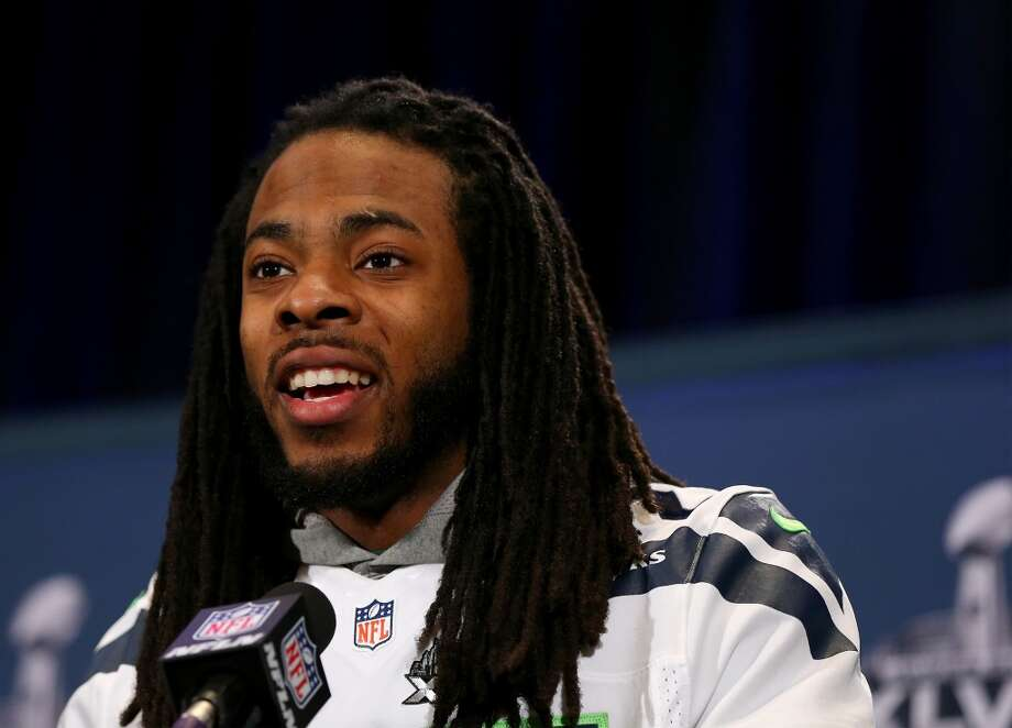 "Seahawks CB Richard ShermanOn embracing the media: ""I guess I'm comfortable with my words. I'm comfortable in front of a crowd – public speaking. Obviously, not everybody in the world is comfortable. Sometimes people get anxiety. Some people are uncomfortable with it, and I really don't think everybody should be forced to do it because it's not for everyone. Just because you're a great football player doesn't mean you're going to be great in front of crowds and great in front of a large amount of people, a large audience."" Photo: Elsa, Getty Images"
