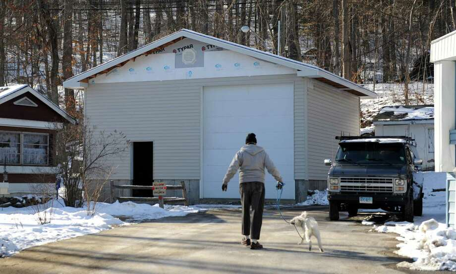 This newly constructed building at the Candle Hill Mobile Park in New Milford, Conn., Thursday, January 30, 2014, will be used to house a new water tank. Photo: Carol Kaliff / The News-Times