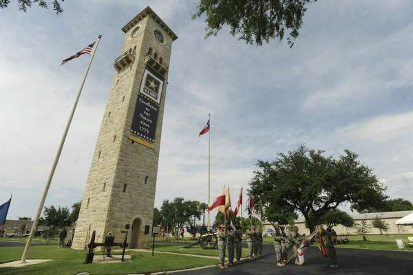In 2012, a banner on the clock tower at the Fort Sam Houston Quadrangle proclaims the Army's 237th birthday.