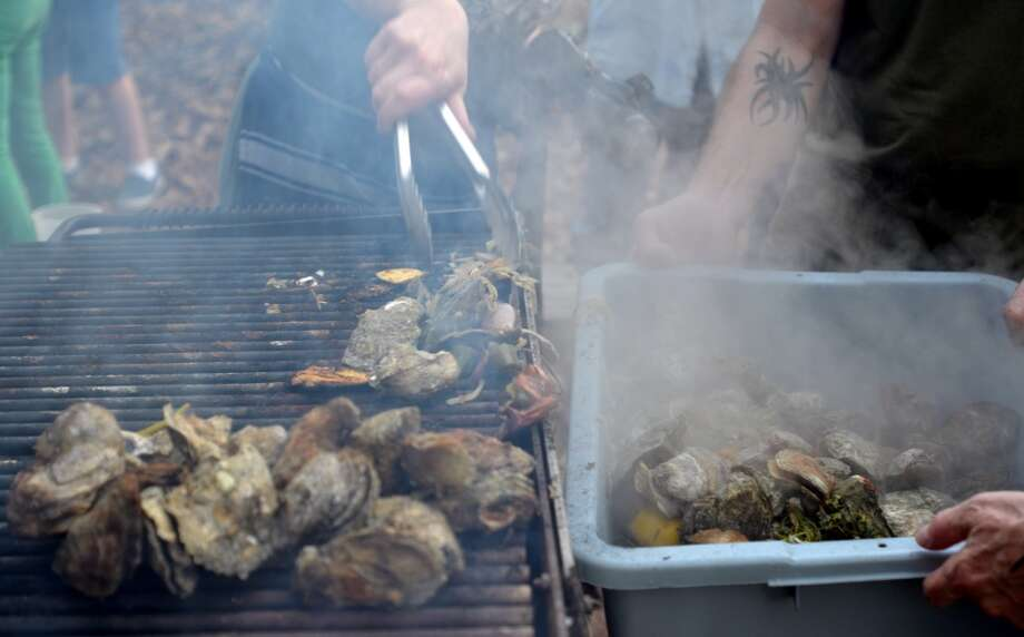 Fresh Gulf oysters, steamed in a Texas Coffee Co. coffee sack, are removed from the grill by Chef Monica Cobb at Slow Food Beaumont's Oysterfest at Village Creek State Park in Lumberton on Jan. 25, 2013. Photo: Cat5