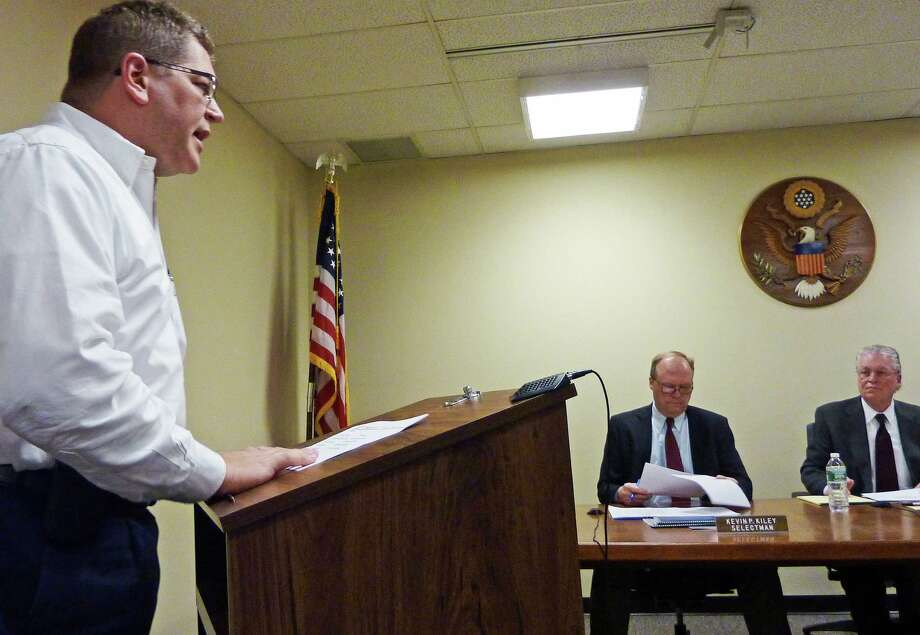 Chris DeWitt, chairman of a committee to look at the town's funding of non-profit groups, gives a presentation to the Board of Selectmen Wednesday. Photo: Genevieve Reilly / Fairfield Citizen