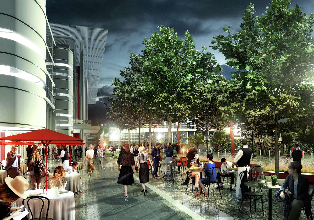 Artist's rendering Houston First Corp. proposal to transform the George R. Brown Convention Center in time for the 2017 Super Bowl SWA-Convention Center-Runway- View of Pedestrian Plaza from the north end of Avendia de las Americas