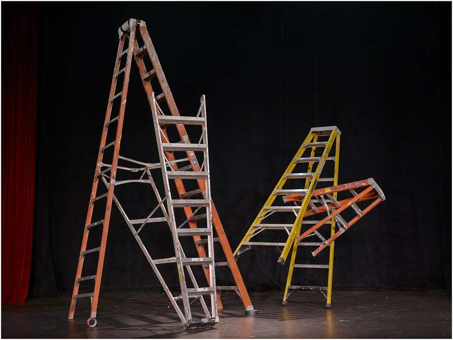 "In ""Tipping Point"" (2013), chromogenic print by Tammy Rae Carland, entangled step ladders hint at how ambition can lose all sense of direction. Photo: Tammy Rae Carland"