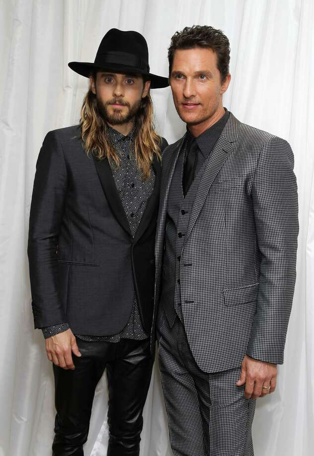 American actors Jared Leto and Matthew McConaughey pose for photographers at Dallas Buyers Club's UK Premiere at the Washington Mayfair Hotel, on Wednesday Jan. 29, 2014, in London. (Photo by Jon Furniss Photography/Invision/AP Images) ORG XMIT: JFLON004 Photo: Jon Furniss Photography / Invision
