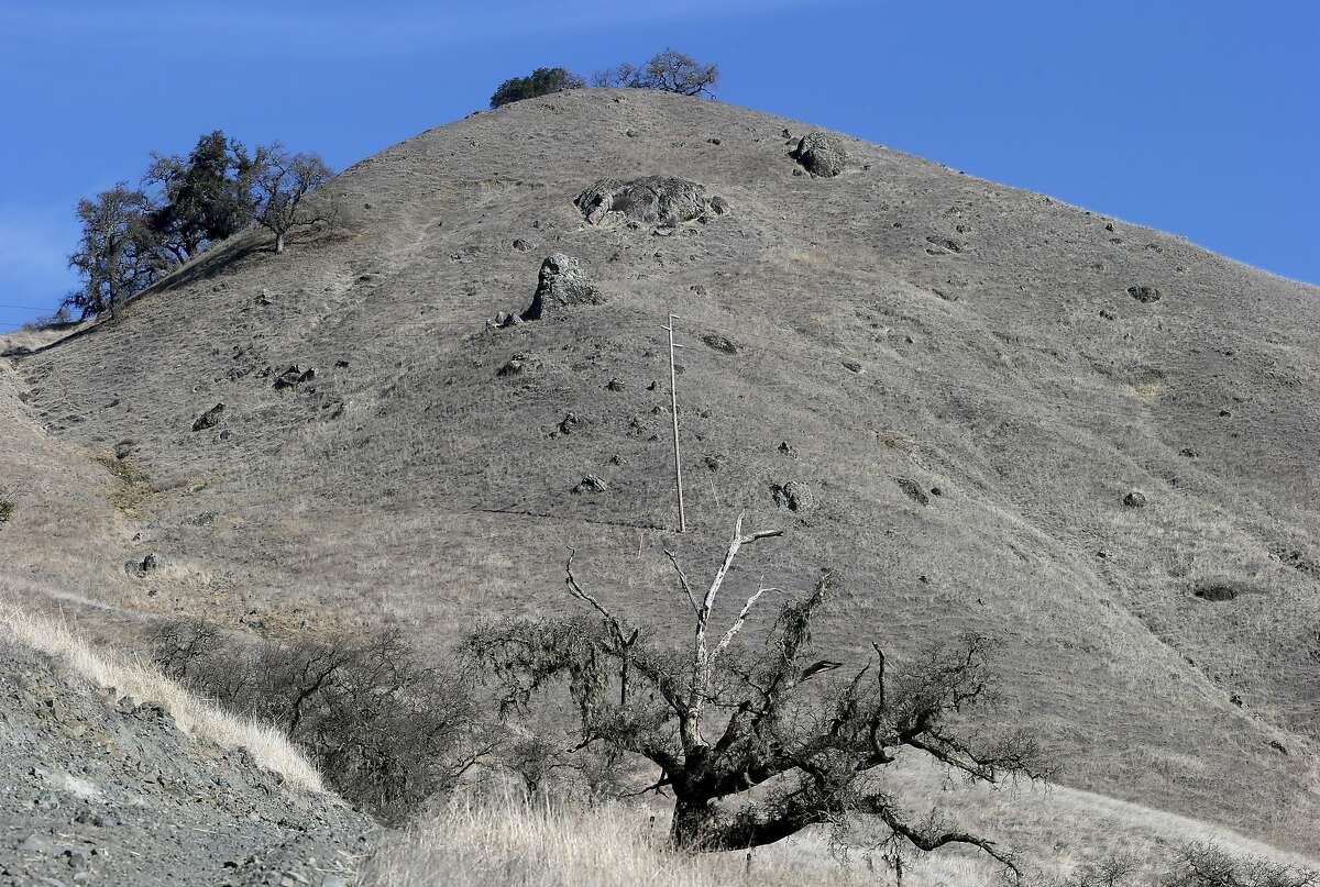The hills above Cloverdale, Calif. are brown and look like hillsides found in summer months Thursday January 30, 2014.