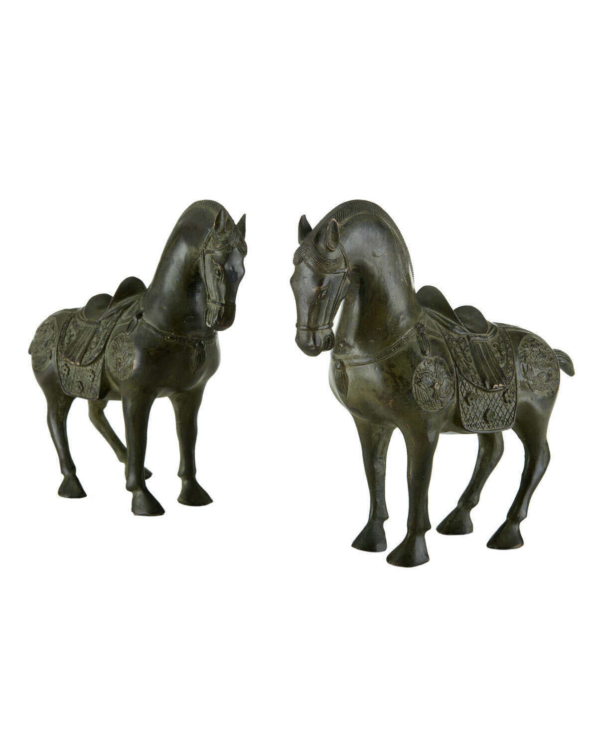 Pair of antique Han-style brass horse statues, $495 at Neiman Marcus.