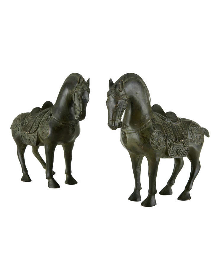 Pair of antique Han-style brass horse statues, $495 at Neiman Marcus. Photo: Neiman Marcus / ONLINE_YES