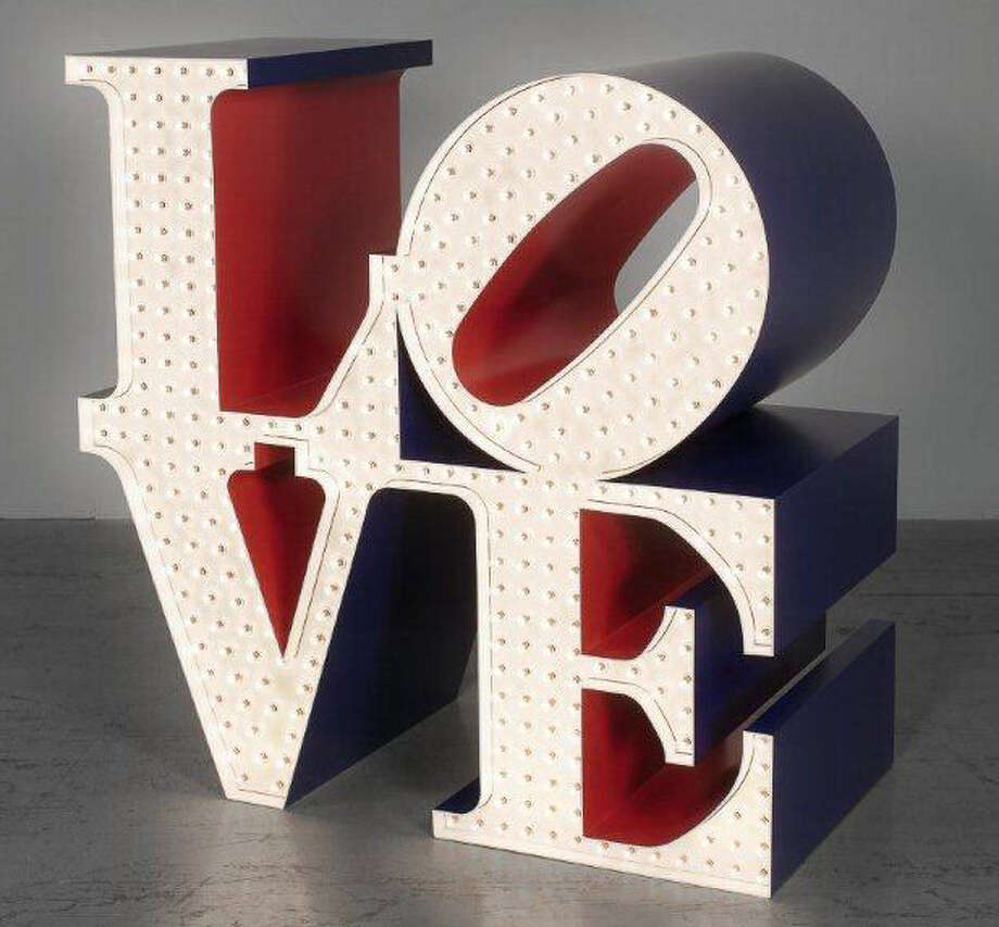 "Robert Indiana added electric lights to ""The Electric LOVE."" Photo: Courtesy McNay Art Museum"