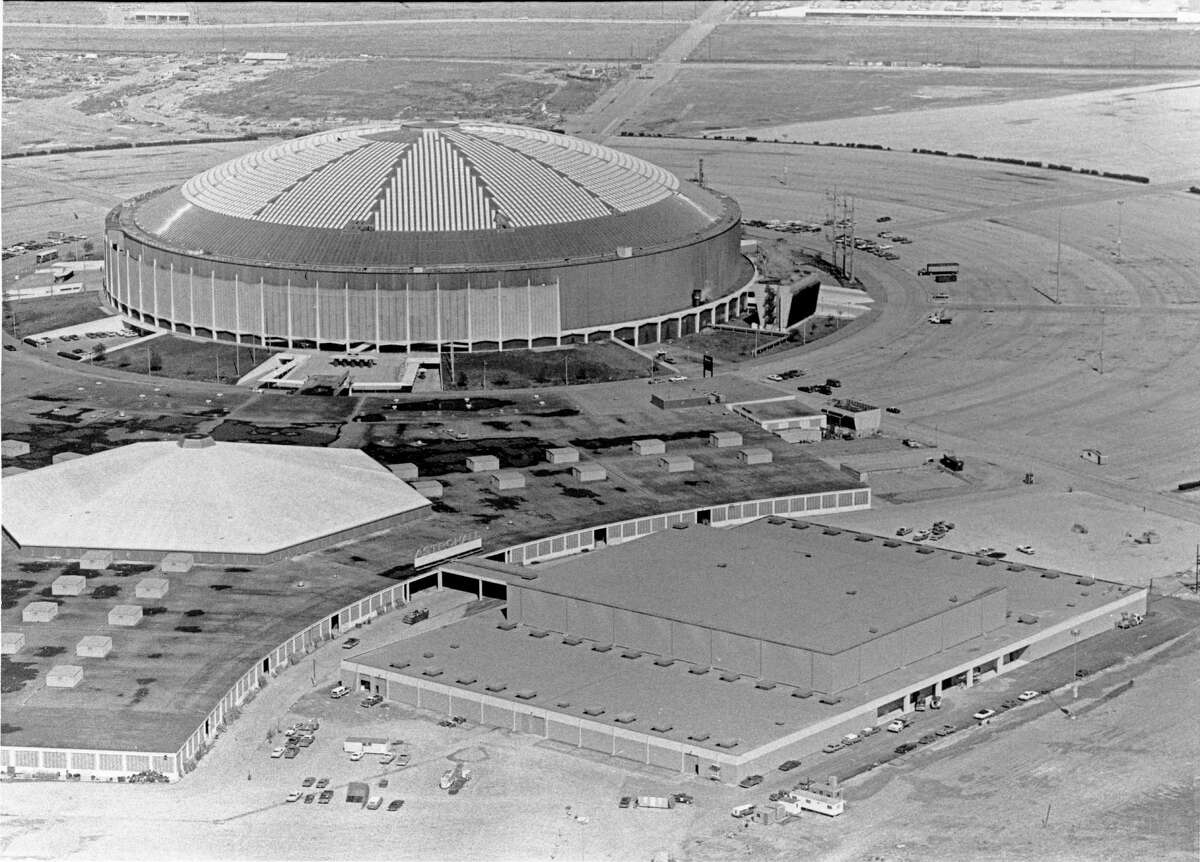 1975 - aerial of Astrodome complex includes the Pin Oak Charity Horse Show's new indoor home - the Lillie and Jim Abercrombie Arena (aka Astroarena, front right building). Between the arena and the Astrodome is part of the Houston Livestock Show Exhibition Hall (also known as the Astrohall).