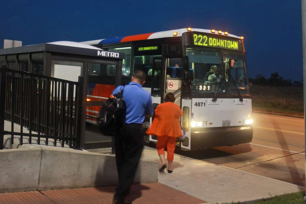 (For the Chronicle/Gary Fountain, October 14, 2013) Ridership at the Grand Parkway park and ride location served by Metropolitan Transit Authority buses is up about 700 boardings per week, officials say. That's a 15 percent jump since a $2.00 price increase went into effect for the Katy Managed Lanes along Interstate 10.