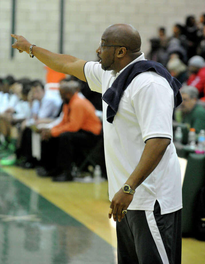 Westhill head coach Howard White shouts directions to his team during their basketball game against Norwalk at Norwalk High School in Norwalk, Conn., on Tuesday, Jan. 28, 2014. Westhill won, 68-56. Photo: Jason Rearick / Stamford Advocate