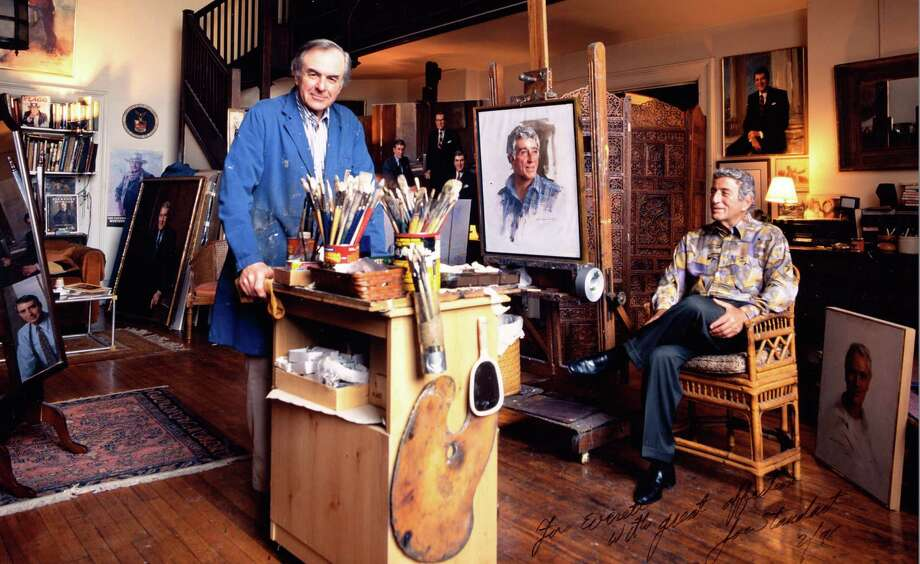 Noted portrait artist Everett Raymond Kinstler is shown in his studio in this undated photo with friend and fellow artist (and popular entertainer) Tony Bennett. Kinstler will be in Bridgeport Monday evening, Feb. 10, to give a talk at Housatonic Community College. It's open the public free of charge. Photo: Contributed Photo / Connecticut Post Contributed