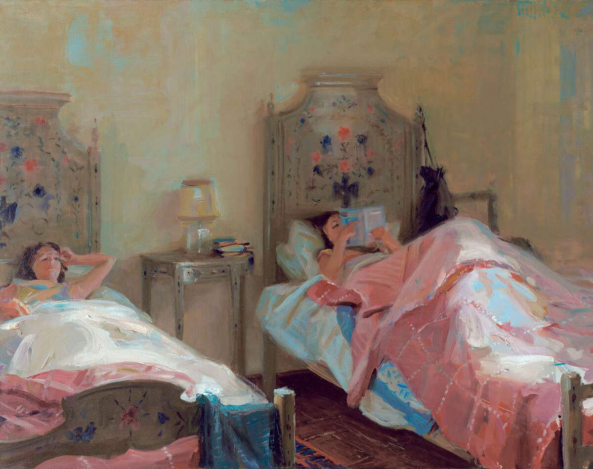 """Noted portrait artist Everett Raymond Kinstler, of Easton, will be in Bridgeport Monday evening, Feb. 10, to talk about his life and career at a free HCC event. Above is a 1990 oil-on-canvas painting, """"Morning, Portugal."""""""