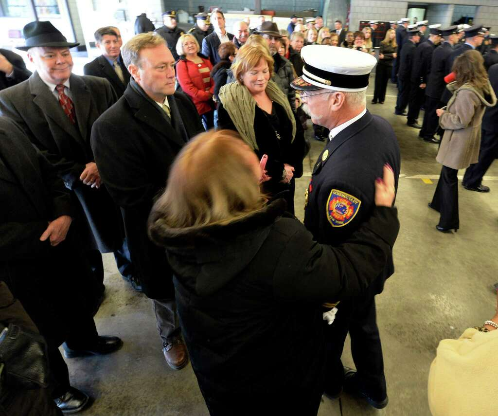 fire chief ends career of 37 years times union schenectady fire chief michael della rocco right is surrounded by well wishers during his