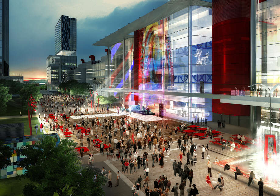 An artist's rendering shows a Houston First Corp. proposal to transform the George R. Brown Convention Center area in time for the 2017 Super Bowl. Photo: Handout