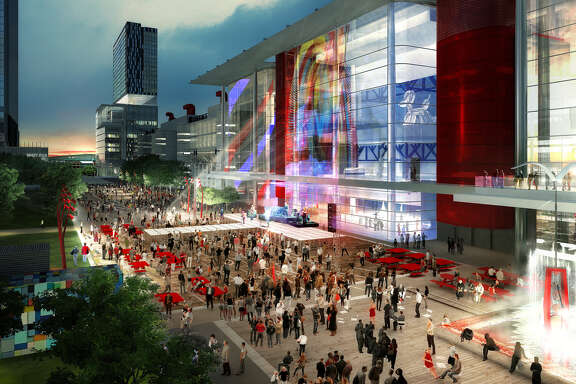 An artist's rendering shows a Houston First Corp. proposal to transform the George R. Brown Convention Center area in time for the 2017 Super Bowl.