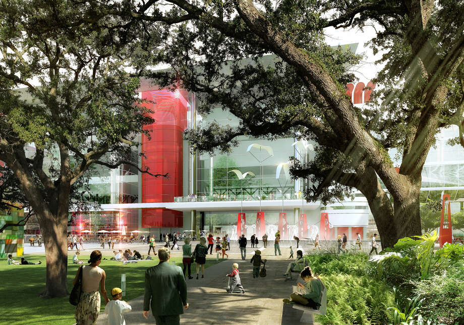 Artist's rendering Houston First Corp. proposal to transform the George R. Brown Convention Center in time for the 2017 Super Bowl. SWA-Convention Center-Gateway View of new 'face' of GRB from the Oak Alley at Discovery Green Photo: Handout