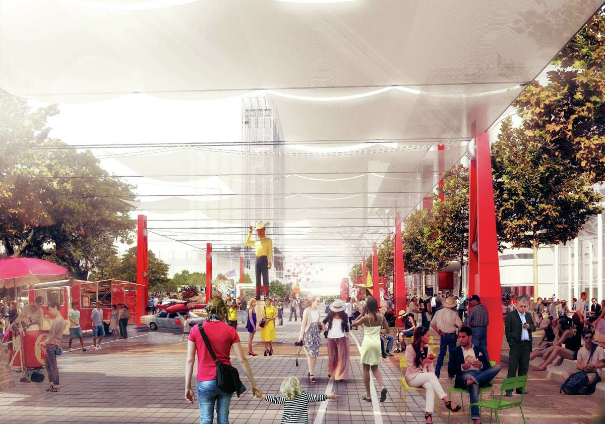 This rendering shows a proposal to transform the area around the George R. Brown Convention Center with flexible overhead shade.