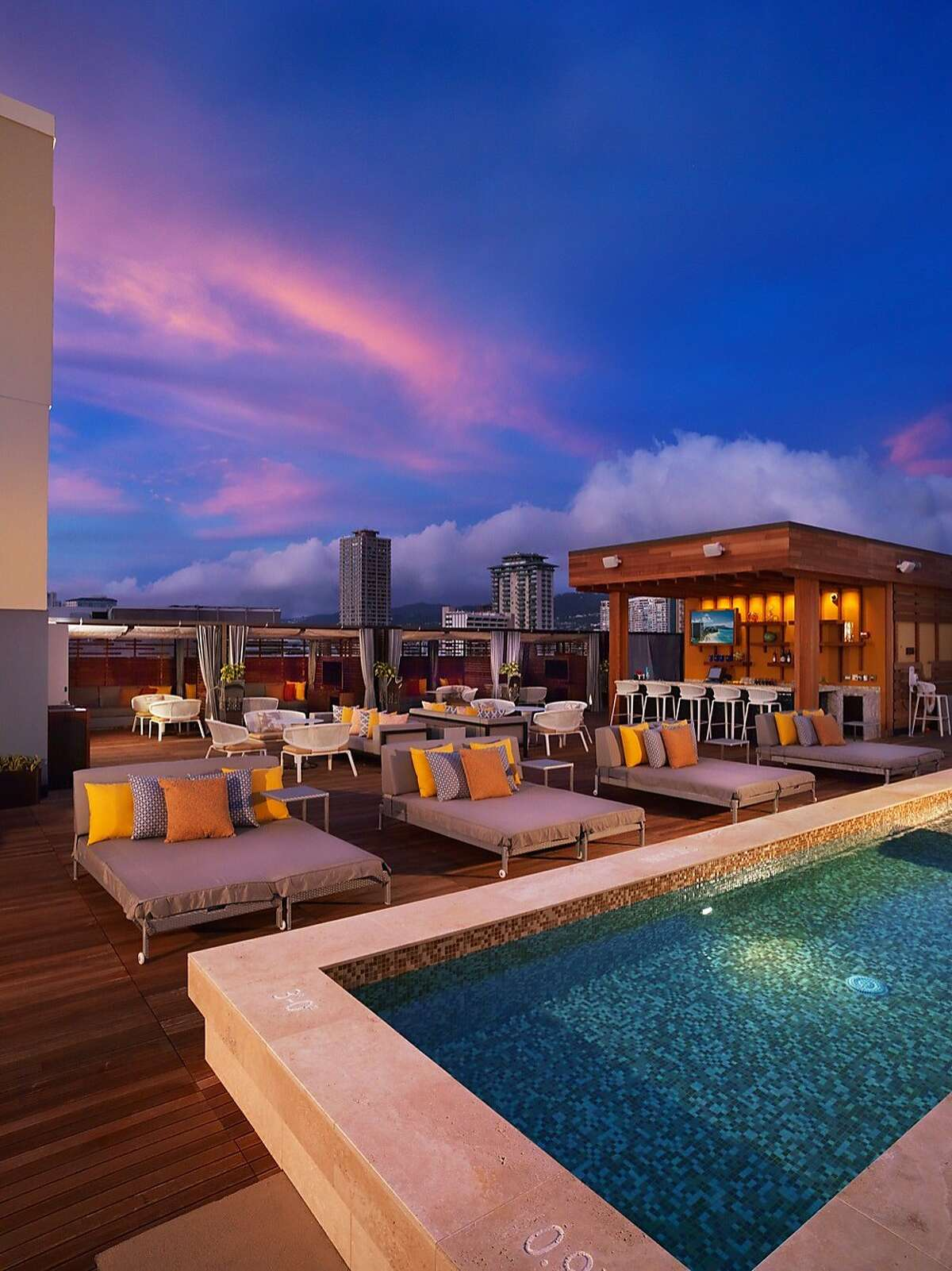 The new Hokulani Waikiki by Hilton Grand Vacations, a renovation and timeshare conversion of the former Ohana Islander Waikiki, claims to have Waikiki's only rooftop pool bar, as well as 143 one-bedroom suites.