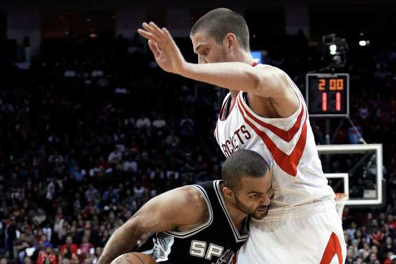 Chandler Parsons, right, and the Rockets controlled Tony Parker and the Spurs this week.
