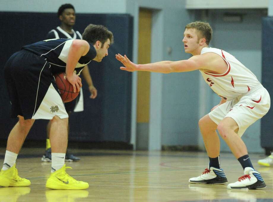 Photos from Notre Dame Fairfield's 72-46 win over New Fairfield in the high school boys basketball game at New Fairfield High School in New Fairfield, Conn. on Thursday, Jan. 30, 2014. Photo: Tyler Sizemore / The News-Times