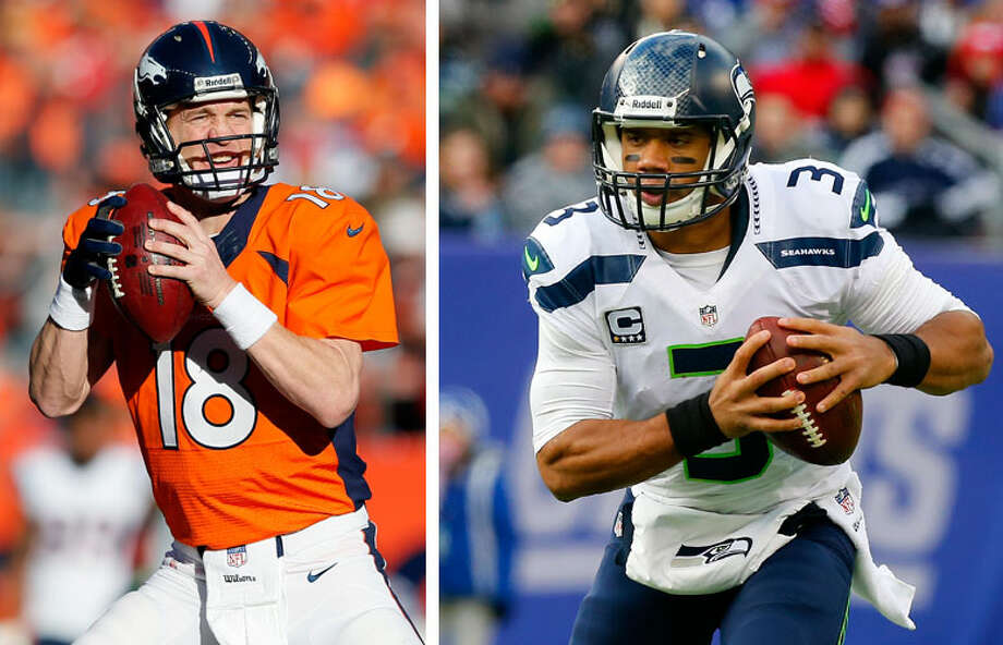 Russell Wilson vs. Peyton ManningSuper Bowl XLVIII features two of the NFL's most talked-about quarterbacks -- the top representatives of two distinct styles of football. Both are exceptionally hard workers, both have cool game-time demeanors and both are devout Christians. But that's about where the similarities end.The Denver Broncos' Peyton Manning is 37 years old. He has been the face of the NFL for more than a decade. He is a 13-time Pro Bowler, he has passed for 4,000 yards in 13 seasons, and he is destined for the Pro Football Hall of Fame. This season, Manning is all but a shoo-in for his fifth MVP award after putting together the best single-season performance ever by an NFL quarterback.But there's a new kid on the block in Seattle. Seahawks QB Russell Wilson looked like another favorite for MVP this season before a late-season skid. The short 25-year-old is in just his second year in the pros, yet has quickly become a leader in the Seahawks' locker room and now has led his team to its second-ever appearance in the Super Bowl.Here's a rundown of the similarities and differences between this year's Super Bowl stars. Photo: Getty Images