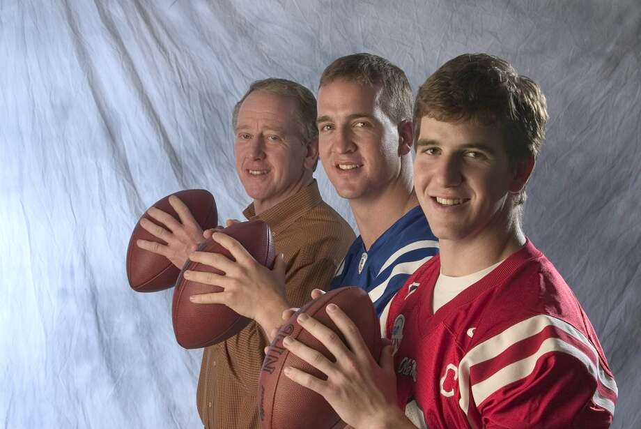 Family influence  The second son of Olivia and Archie Manning, Peyton Manning grew up surrounded by football. His father was a longtime quarterback for the New Orleans Saints, and all three of Archie's sons followed in his football footsteps. While Eli Manning has won two Super Bowls with the New York Giants, Peyton is considered the superior QB. (Eldest brother Cooper dropped football after being diagnosed with a neurological disorder before college.) The Manning patriarchy is prevalent in the world of sports; Archie, Peyton and Eli have even teamed up to write books about their football lives. Photo: Sporting News Archive, Sporting News Via Getty Images