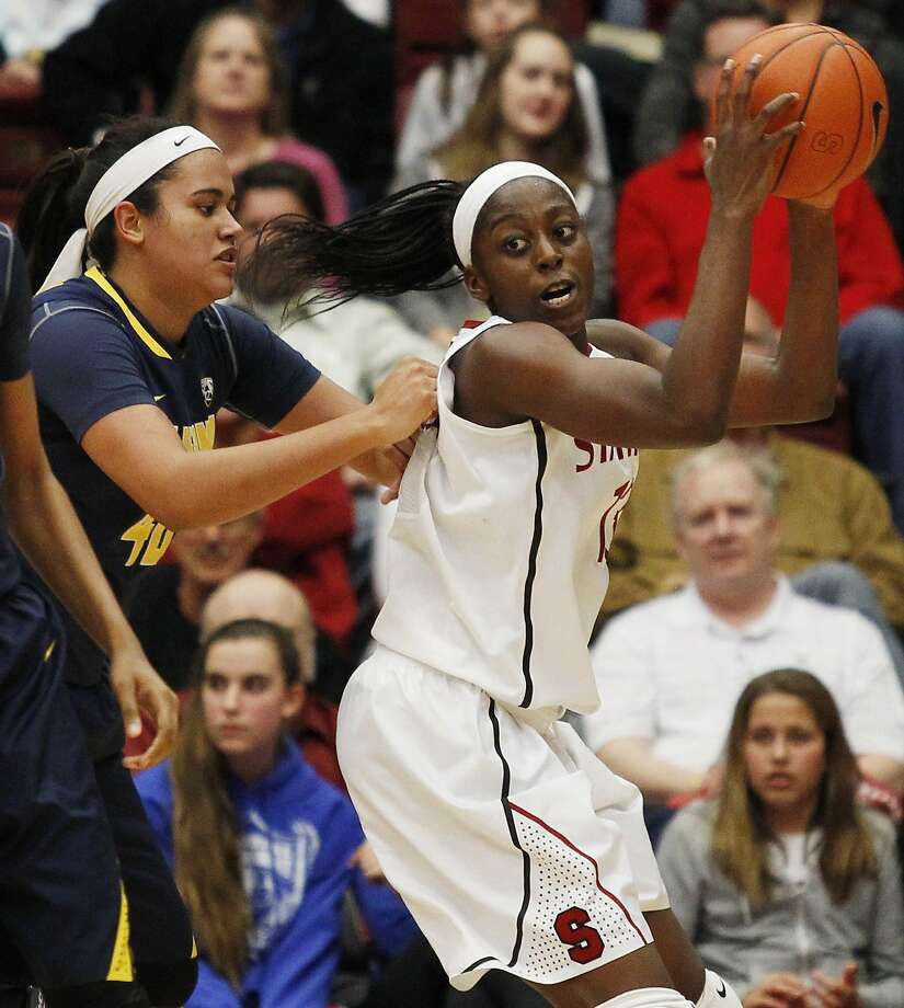 Chiney Ogwumike had few easy looks against Cal's Justine Hartman. Photo: George Nikitin, Associated Press