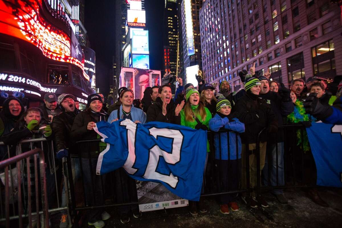 Seahawks fans gather in Times Square on Thursday, January, 30, 2014 in New York City. Hype for the Super Bowl continues to build in The Big Apple. (Joshua Trujillo, seattlepi.com)