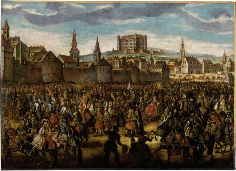 Moving further into Central Europe, we find Pressburg, shown here in Johann Daniel Hertz's 1741 depiction of the Coronation of Maria Theresa. That actually was the German name for the city. Hungarians called it Pozsony (actually, they still do). Photo: Galéria Mesta Bratislavy, Wikimedia Commons