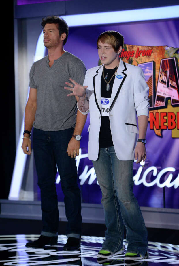 "AMERICAN IDOL XIII: Omaha Auditions: L-R: Harry Connick, Jr. ""Stands by"" contestant Tyler Marshall as he auditions on AMERICAN IDOL XIII airing Thursday, Jan. 30 (8:00-10:00 PM ET/PT) on FOX. CR: Michael Becker / FOX. Copyright 2014 FOX BROADCASTING. / 1"