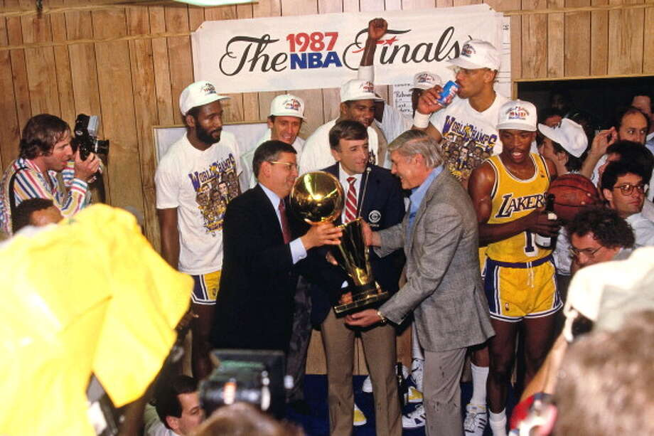 The Los Angeles Lakers have won eight titles in the 30 seasons Stern has been commissioner - most of any franchise. The Bulls are second on that list with six championships. Photo: Andrew D. Bernstein, NBAE/Getty Images / 1987 NBAE
