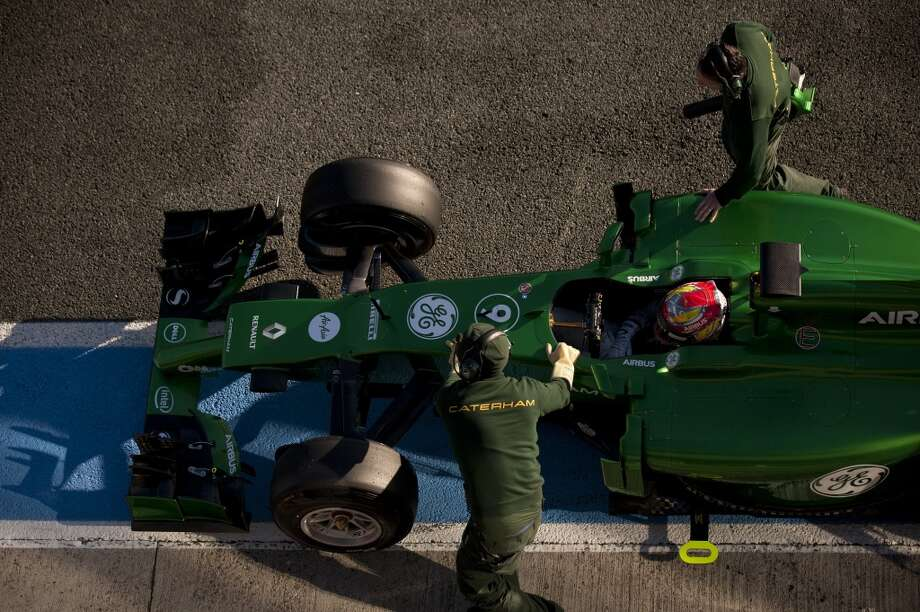 Catherham F1 team's Dutch driver Robin Frijns is pushed in the pits during the Formula One pre-season test days at Jerez racetrack in Jerez. Photo: JORGE GUERRERO, AFP/Getty Images