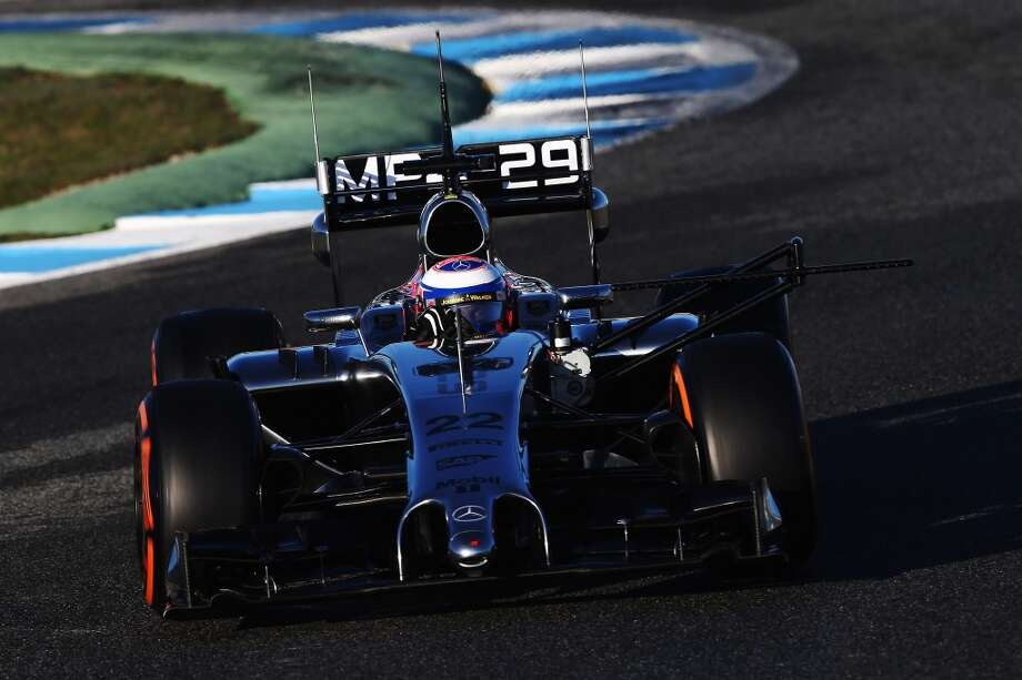 Jenson Button of Great Britain and McLaren drives with sensors attached to his car during day three of Formula One Winter Testing at the Circuito de Jerez in Jerez de la Frontera, Spain. Photo: Mark Thompson, Getty Images